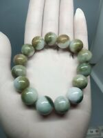 13.5mm Green&White Beads Bracelet 100%Authentic Natural A Burmese Jadeite Jade