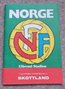 Norway vs Scotland football programmes from 7th June 1979 - vgc