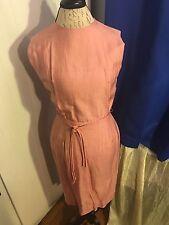 Silk Salmon Pink Vintage Handmade 1950s Cocktail Dress