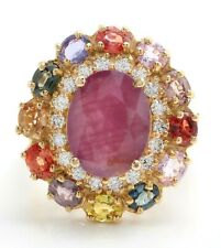 9.11 Ct Natural Ruby Ceylon Sapphires and Diamonds in 14K Solid Yellow Gold Ring