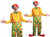 Circus Clown Costume Comedy Funny Mens Clowns Fancy Dress Outfit One Size