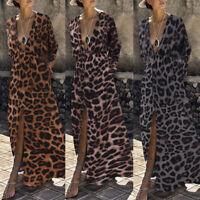Plus Size Women Leopard Print Long Wrap Dress Ladies V-neck Summer Beach Dresses