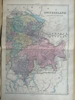 1891 Eastern Switzerland Hand Coloured Original Antique Map by G.W. Bacon