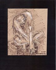 MALE NUDE by RUTH  FREEMAN MIXED MEDIA MEASURES 8  X 10 MOUNTED ON BOARD
