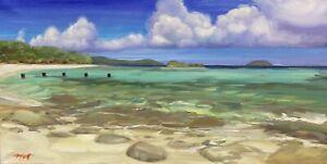 "Abbott Oil On Stretched Canvas 12""x24"" Dennis Bay Old Fishing Pier St. John USVI"