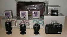 CONTAX G2 BLACK LIMITED EDITION W/ 28MM, 45MM, 90MM, LENS HOODS, FLASH, CASE