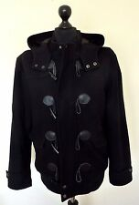 Burton Men's Wool Hooded Black Duffle Coat Jacket Size: LARGE