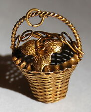 Antique Victorian Intricate Flowers in Basket Charm 18k 18ct Gold c1840