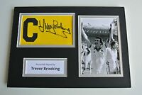 Trevor Brooking SIGNED Captains Armband A4 Photo Display West Ham Utd PROOF COA