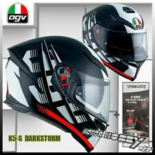 CASCO INTEGRALE IN FIBRA AGV K5 S DARKSTORM MATT BLACK RED MAX PINLOCK TAGLIA MS