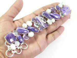 Charorite Pearl Amethyst Moonstone Topaz Gemstone Jewelry Silver Bracelet B-174