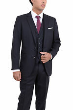 Arthur Black Classic Fit Charcoal Pinstriped Two Button Three Piece Wool Suit