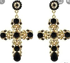 Earring Boho Festival Party Boutique Uk Gold Black Crystal Cross Luxury Fashion