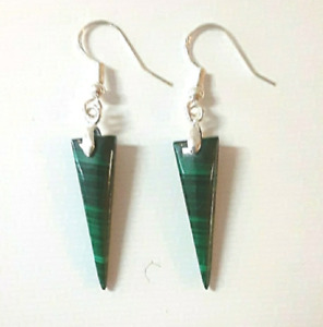 Malachite Earrings, Sterling Silver green