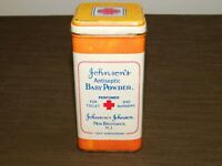 "VINTAGE KITCHEN 5 1/4"" HIGH JOHNSON'S BABY POWDER 100th ANNIV TIN CAN  *EMPTY*"