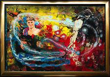 Fußballspieler Alexander Zickler, Gemälde 1997 68 x 98 cm von Jozsef Toth, Sport