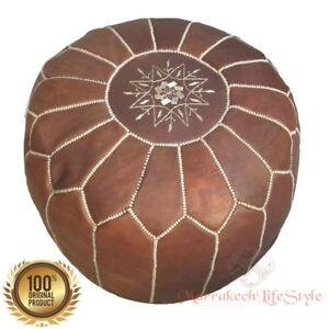 Free Express Shipping! STUFFED MOROCCAN LEATHER POUF DARK TAN OTTOMAN FOOTSTOOL