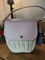 NWT Tommy Bahama Pink Rose Wicker Rattan Small Structured Crossbody Bag Purse