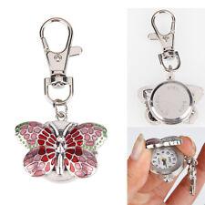 Fashion Quartz Women's Pretty Butterfly Pocket Key Chain Ring Pendant Watch Pink