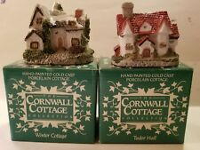 Set Of 2. New In Box Cornwall Cottages. Tudor Hall & Winter Cottage. (O41#8dr)