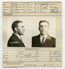 1927, ORIGINAL crime mugshot, chauffeur, PROHIBITION era, crime, CHICAGO police