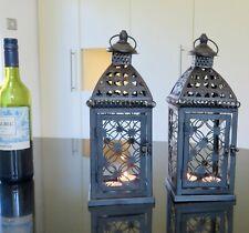 PAIR of 2 Black METAL Lanterns no Glass with free T lights weddings garden