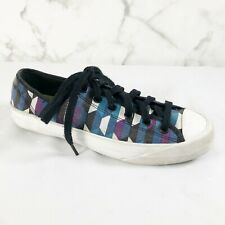 Kate Spade X PF Flyer Sneakers 7 Blue Purple Geometric Abstract Shoes Lace Up