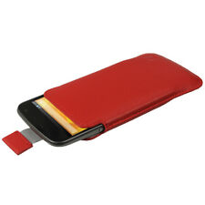 Red Leather Pouch Case Cover for LG Google Nexus 4 Android Smartphone