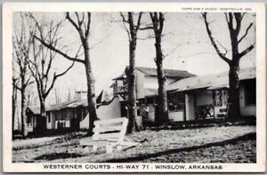 Winslow, Arkansas Postcard WESTERNER COURTS Highway 71 Roadside c1950s
