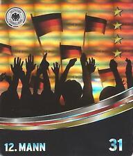 """Sammelbild Nr 31 """"12. Mann"""" REWE Glitzer Sticker Fußball DFB EM 2016"""