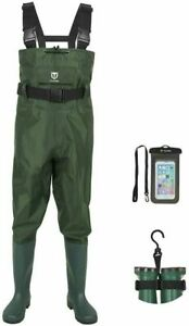 TIDEWE Bootfoot Chest Wader, 2-Ply Nylon/PVC Waterproof Fishing Hunting Green W7