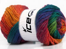 Lot of 4 x 100gr Skeins ICE AMBIENTE (50% Wool) Hand Knitting Yarn Rainbow