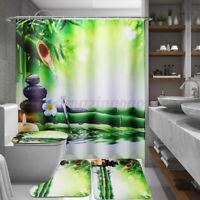 Bamboo Waterproof Bathroom Shower Curtain Toilet Cover Mat Anti-Slip Rug Set
