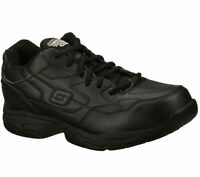 Slip Resistant Work Skechers 77032 Black Shoes Memory Foam Men's Comfort Casual