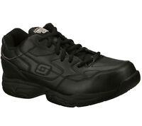 Slip Resistant Work Skechers 77032 Black Shoes Memory Foam Men's Comfort Casual