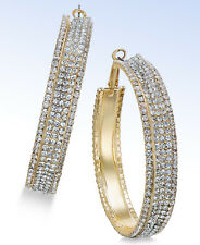 """THALIA SODI Large 2-1/4"""" Gold-Tone Crystal Accented Clutchless Hoop EARRINGS"""