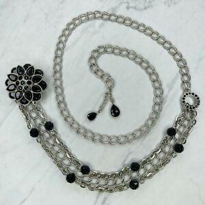 Silver Tone Black Rhinestone Flower Belly Body Chain Link Belt OS One Size