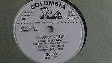 Zeke Williams - 78rpm single 10-inch – Columbia D.J. #20553 The Cowboy's Dream