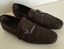 Tod's Men's Brown Exotic Crocodile Alligator Loafers Moccasins Size 9.5