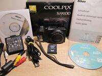 Nikon COOLPIX S9100 12.0MP 18x Opt.Zoom-Full HD Video Digitalkamera-Schwarz*OVP*