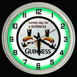 "16"" GUINNESS Beer Sign Green Neon Clock"