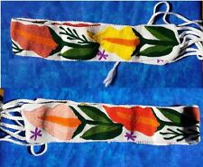 """Maya Mexican Belt Embroidered Flowers Calla Lilies Chiapas 30"""" and 60"""" with ties"""