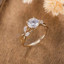 Ring 10k Yellow Gold For Her 2.15ct Solitaire Moissanite Curve Modern Engagement