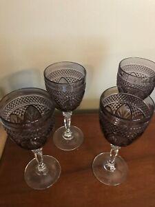 4 Wine Water Glasses Purple Amethyst Glass Crystal Stem Stemware Drinkware VTG