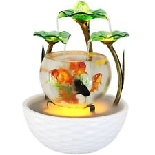 Tabletop Green Lotus Fountain Waterfall Indoor Decoration glass ceramic