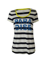Tommy Hilfiger Women's Scoop Neck Striped Short Sleeve Top M, New Masters Navy