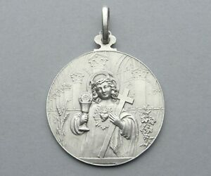French, Antique Religious Large Silver Pendant. Child, First Communion. Medal.