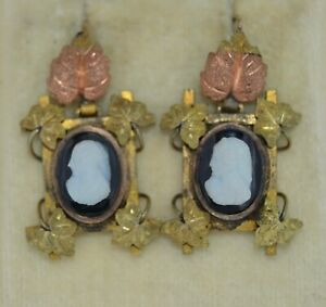 Edwardian 10K and Gold Filled Hard Stone Cameo Earrings
