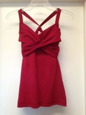 LULULEMON Wrap It Up Tank Cranberry Red Cross Open Back Bra Top w PADS Sz 4 EUC