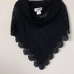 St John Evening Black Beaded Knit Poncho Sz S B-2